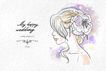 Wedding watercolor portrait of the bride with space for text   Vector