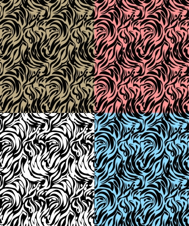 Four abstract  zebra skin with various background Stock Vector - 20544767