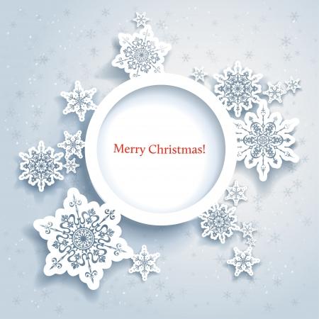 feriado: Diseño abstracto del invierno con copos de nieve y espacio para el texto Vectores