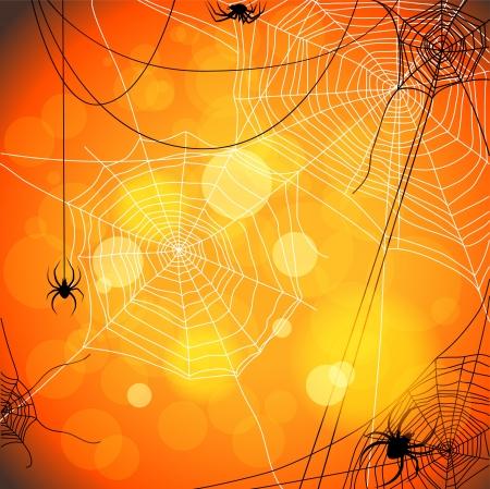 Hintergrund mit Spinnen und Web Vektorgrafik