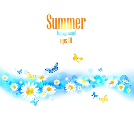 Bright summer  background with space for text. Vector