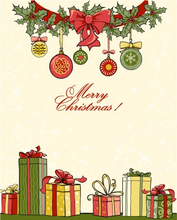 christmas berries: Sfondo Natale con i regali
