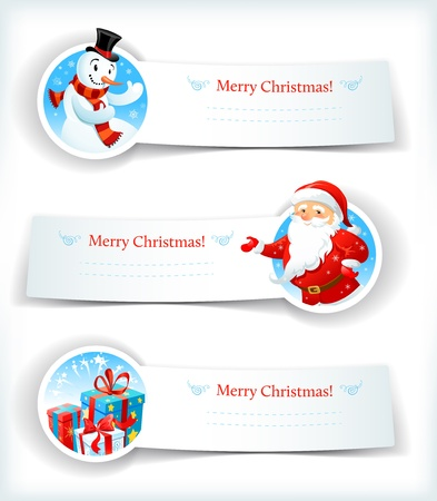 blue banner: Christmas banners with Santa Claus and snowman
