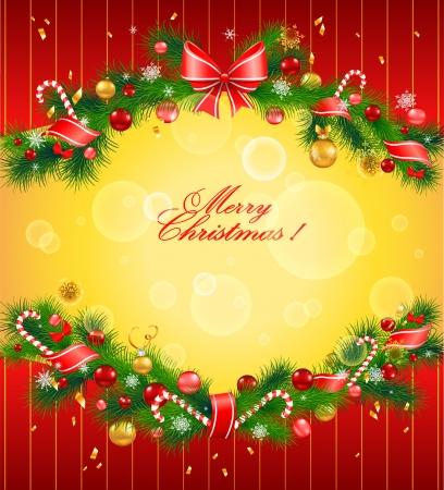 祝賀会: モミの木とクリスマスのお祭りの背景