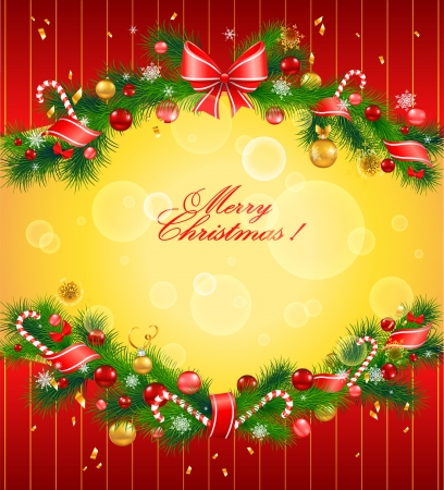 christmas holiday background: Christmas festive background with fir tree Illustration