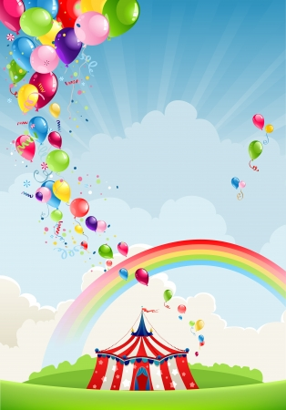 marquee tent: Circus, rainbow and balloons with space for text