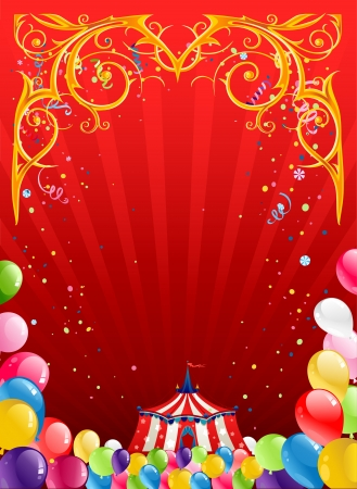 birthday background: Festive circus background  with space for text