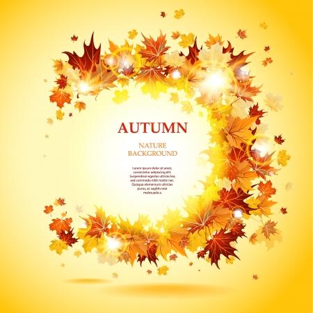 otoño: Hojas de arce marco con el espacio para el texto