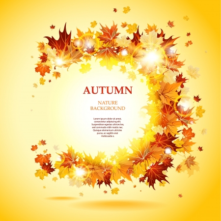 autumn background: Maple leaves frame with space for text