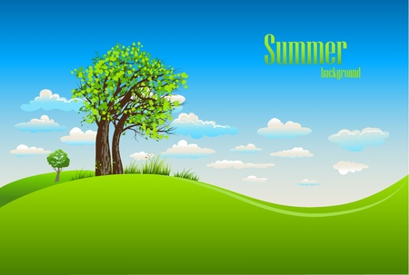 Summer background with tree Vector