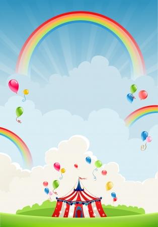fondo de circo: Viajar circo y arco iris con espacio para el texto