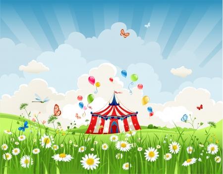diversion: Circo que viaja bajo el cielo azul Vectores