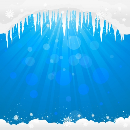 Winter background  with icicles with space for text   Illustration
