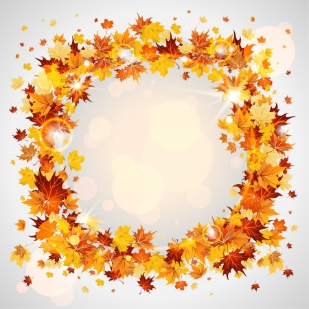 sycamore: Autumn wreath of maple leaves with space for text