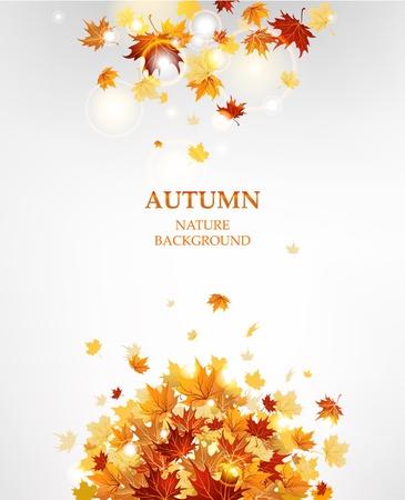 가을은 텍스트에 대 한 공간을 가진 잎 배경 일러스트
