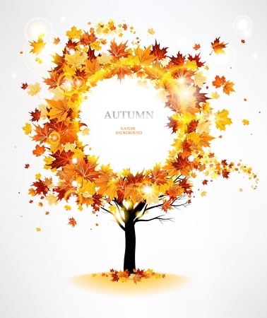 tree in autumn: Autumn tree with beautiful flying leaves with space for text   Illustration