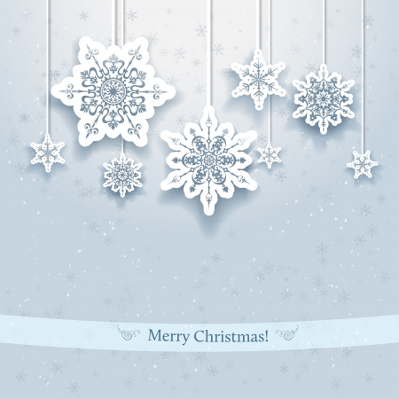 Christmas design with decorative snowflakes Illustration
