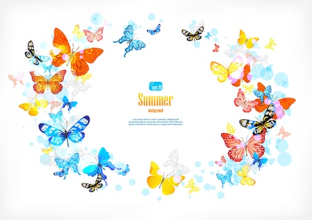 joy: Frame with beautiful butterflies with space for text.
