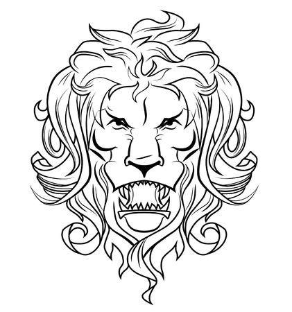roaring: Lion head sketch Illustration