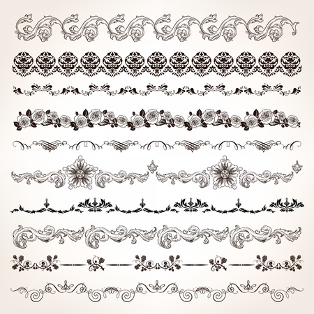 calligraphic design: Ornamental vintage border set with engrave floral and calligraphic design elements.