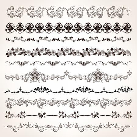 Sier vintage grens set met graveren florale en kalligrafische ontwerpelementen. Stock Illustratie