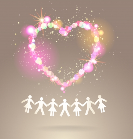Paper crowd with shining heart Vector