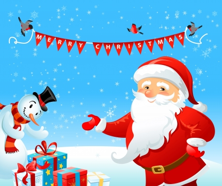 Santa Claus and Snowman with space for text   Vector