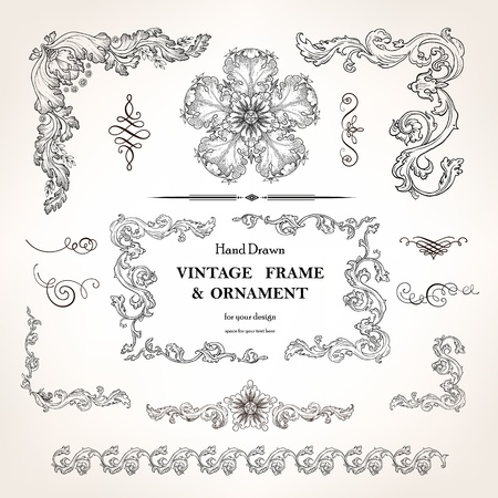page decoration: Set of vintage design elements and calligraphic page decoration
