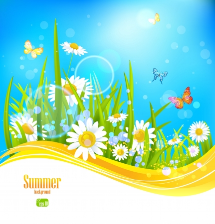 Sunny bright background with blue sky with space for text