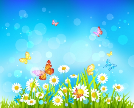 Sunny day vector background with flowers and butterflies with space for text. Illustration