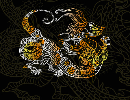 Dragon on dark background Vector