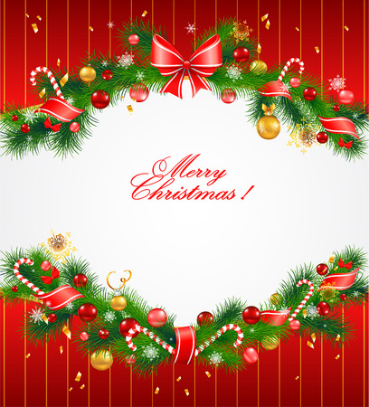 Christmas festive background with fir tree Çizim