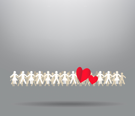 Paper crowd men and women with hearts Vector