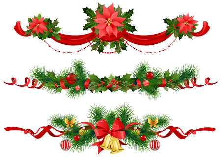 holly leaf: Christmas festive decoration with  spruce  tree