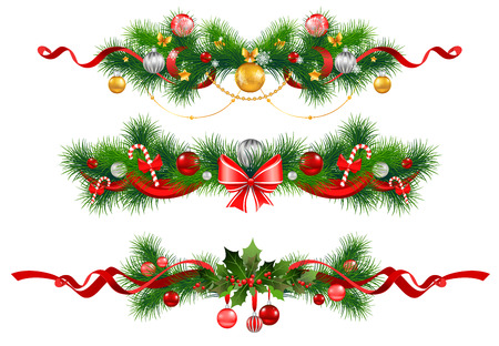 holly leaf: Christmas decoration with  spruce  tree Illustration