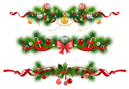 flor de pascua: Decoración de Navidad con el árbol de abeto Vectores
