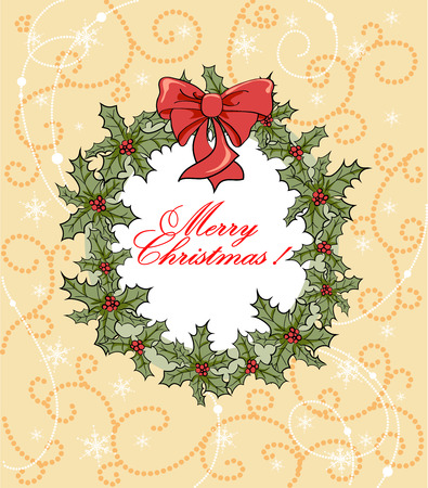 Christmas background with wreath with space for text   Vector