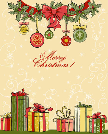 Christmas background with gifts Vector