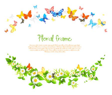 전원시의: 텍스트에 대 한 공간을 가진 아름 다운 나비와 데이지와 벡터 프레임입니다.