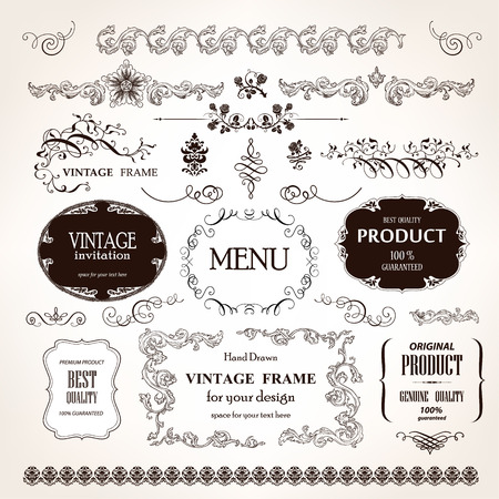 vintage: Frames do vintage do vetor e elementos de design caligr