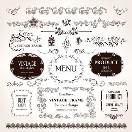 vintage: Marcos vintage vector y elementos de diseño caligráfico establecidos