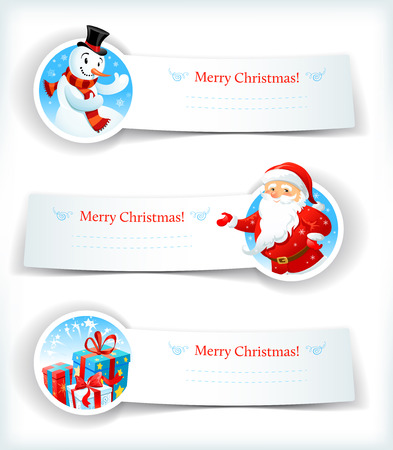 Christmas banners with Santa Claus and snowman Vector