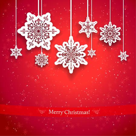 pascuas navideÑas: Diseño rojo de la Navidad con copos de nieve decorativos