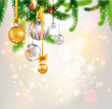 holiday light: Christmas tree light background.  Illustration