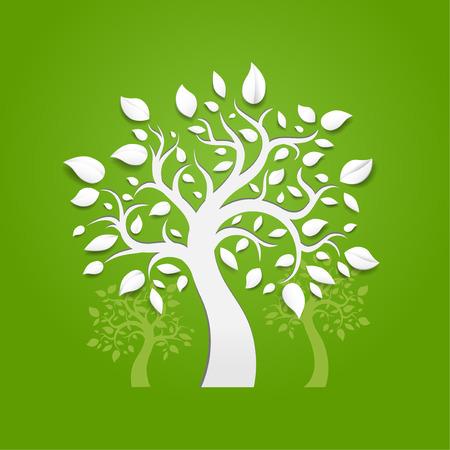 트렁크스: 녹색 배경에 추상적 인 벡터 나무