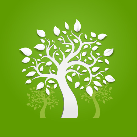Abstract vector trees on green background Vector
