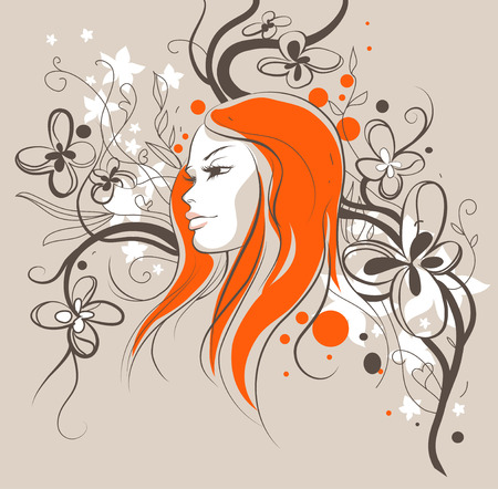 girl sketch: Girl sketch with floral background Illustration