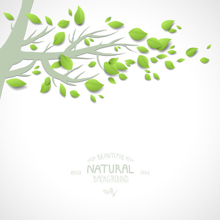 Background with spring branch and green leaves Vector