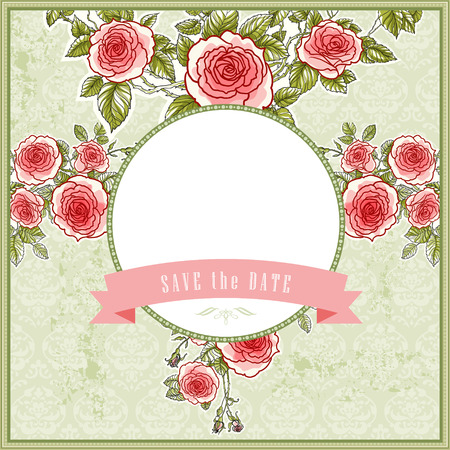 Beautiful vintage background for the wedding with roses and space for text Vector