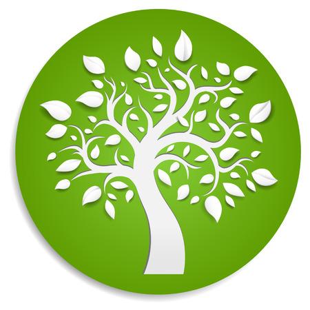 birretes: Árbol abstracto sobre fondo verde.
